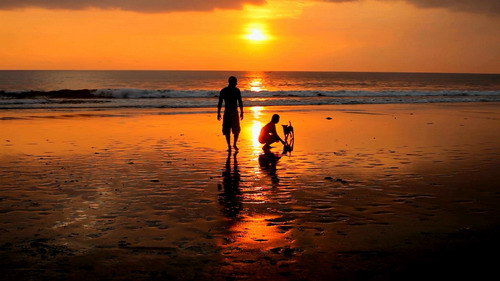 Couple playing on beach with dog at sunset in bali - Footage (Shutterstock)