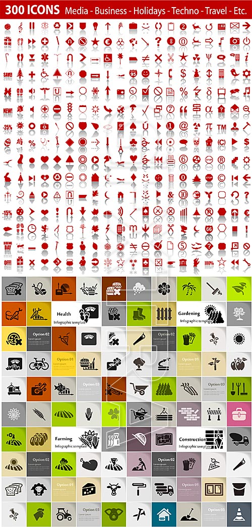 Various vector icons set