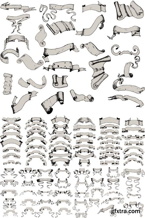 Vector Paper Scrolls Set