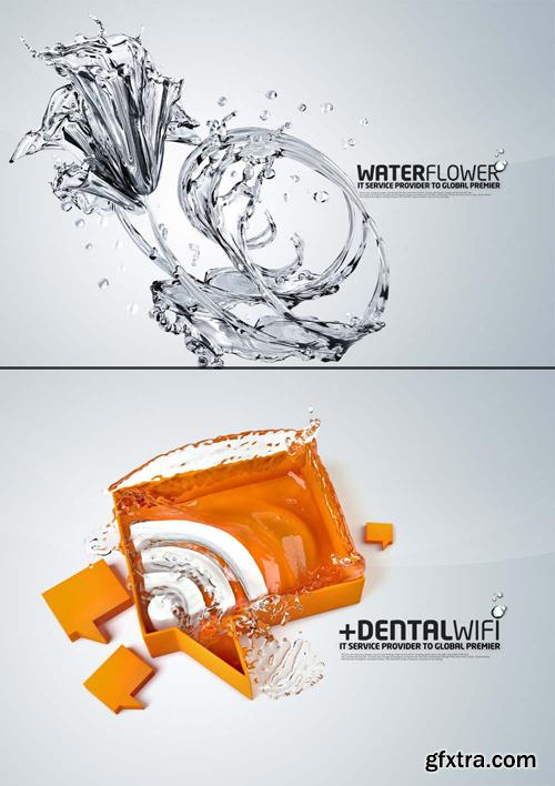 2 PSD Source - Water Flower and Wi-Fi