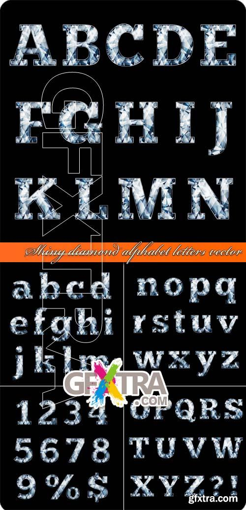 Shiny diamond alphabet letters vector