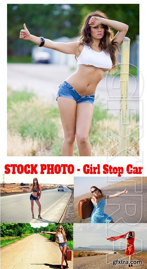 Stock Photo - Girl Stop Car