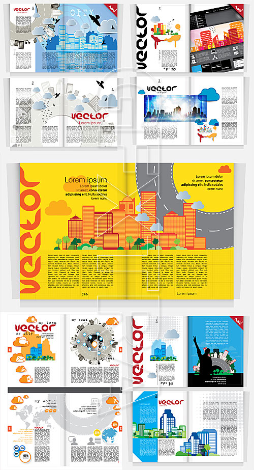 Broshures and magazines vector templates