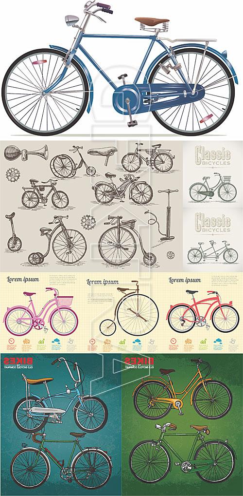 Retro bicycles illustration