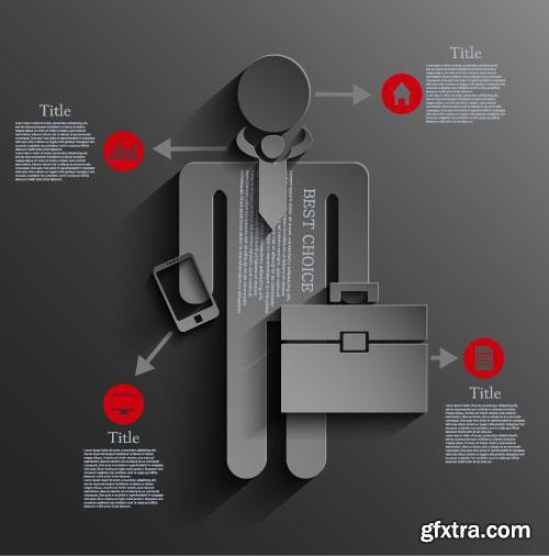 Dark Infographic Design Elements 24xEPS