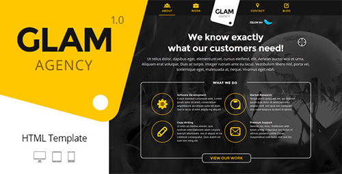 ThemeForest - Glam Agency - One Page Responsive HTML5 Template - RIP ...