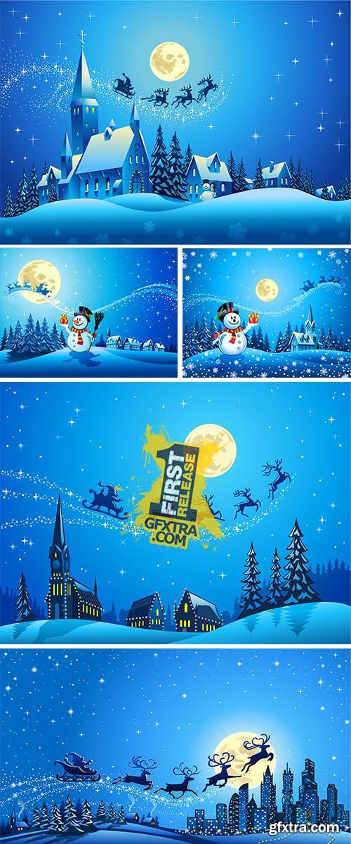 Stock: Santa Sleigh Closer to the Big City