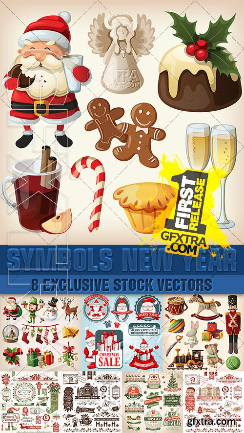 Thematic elements and attributes, labels, toys, Christmas-tree decorations - VectorImages