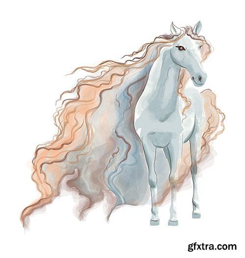 Beautiful picturesque horse watercolor - VectorImages
