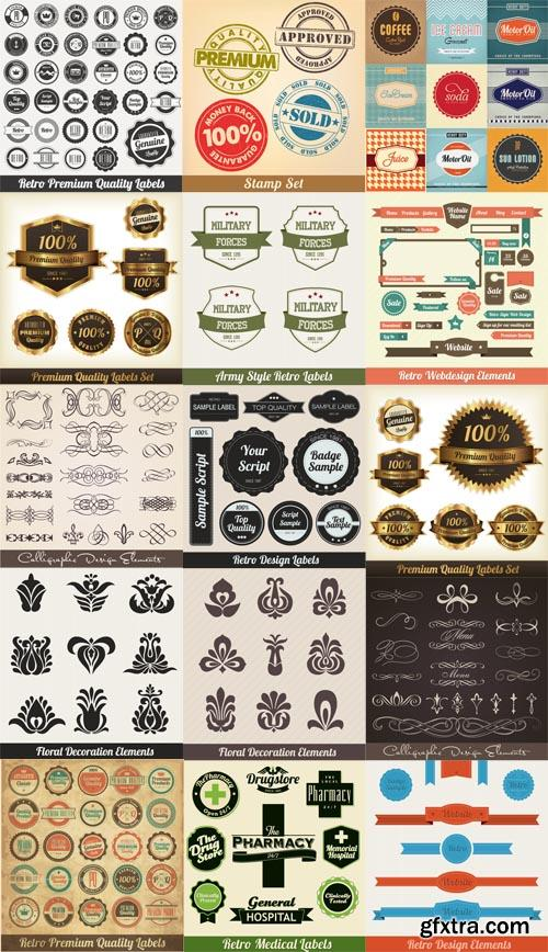 Web Vector Bages and Calligraphic Elements
