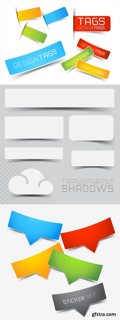 Vector Stickers and Banners with Shadow Set