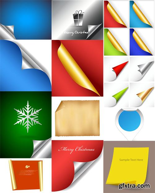 Curled Papers Design Vector Set