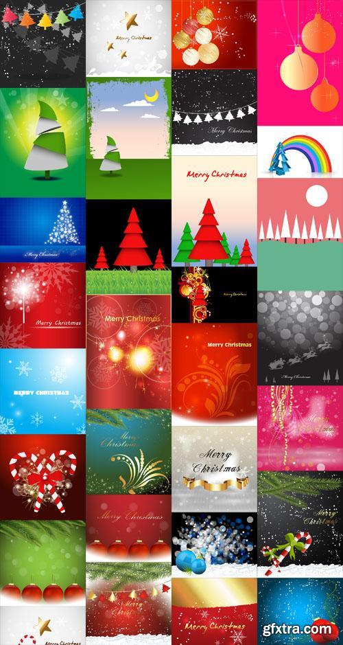 32 Christmas Backgrounds Vector Set