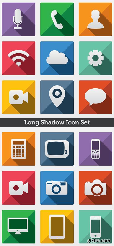 Long Shadow Vector Icons Set