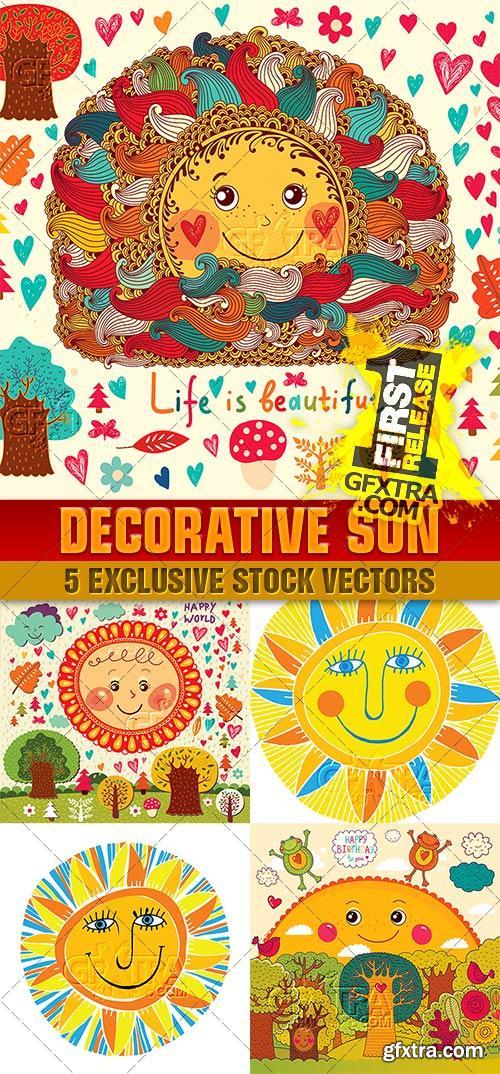 Illustrations fun decorative sun - VectorImages
