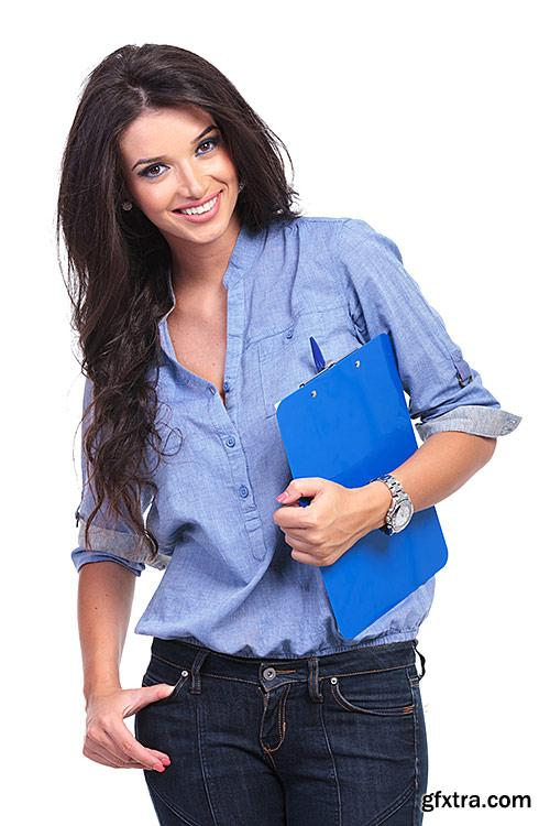 Beautiful girl, smiling, Manager in office - PhotoStock