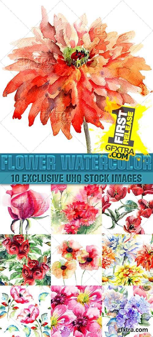 Beautiful watercolor seamless patterns of flowers - PhotoStock