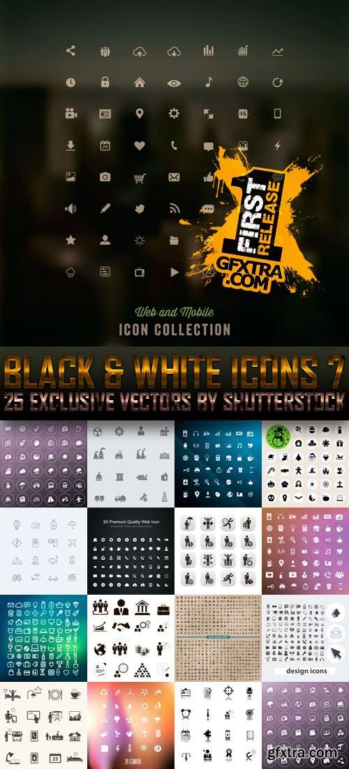 Amazing SS - Black & White Icons 7, 25xEPS