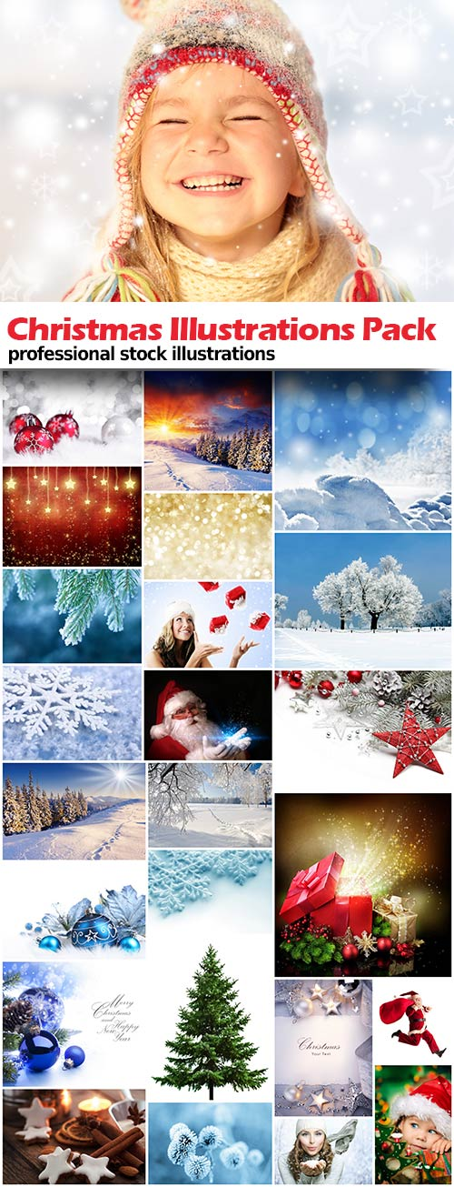 Christnmas Illustrations pack - 25x JPEGs