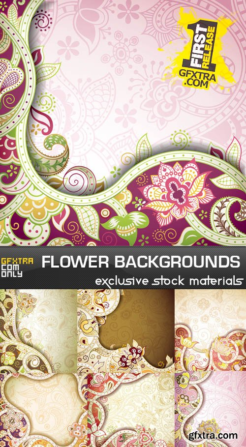Flower Backgrounds, 25xEPS