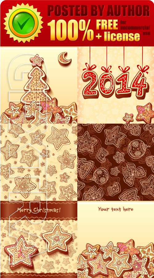Legal release - Christmas gingerbread greeting cards vector