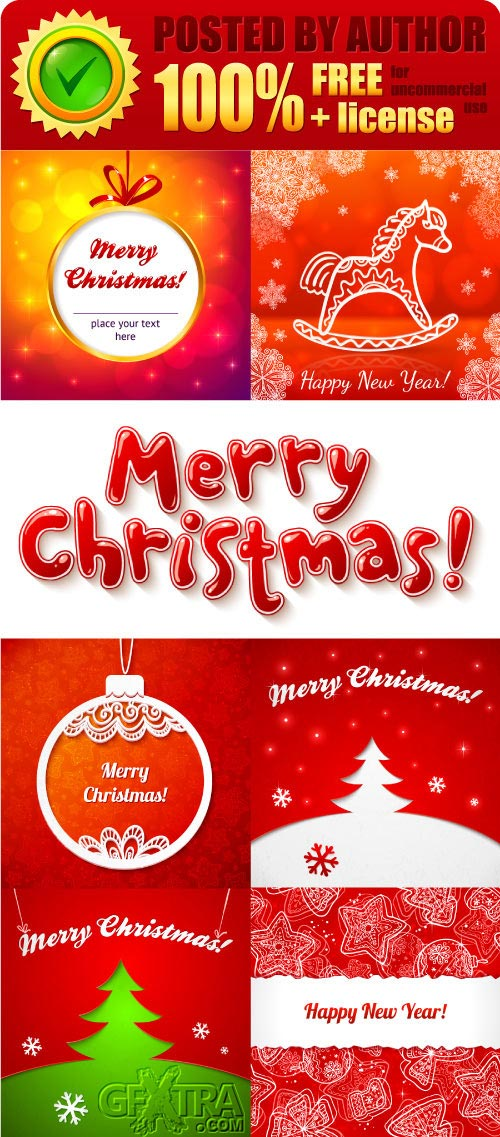 Legal release - Red Christmas greeting cards vector
