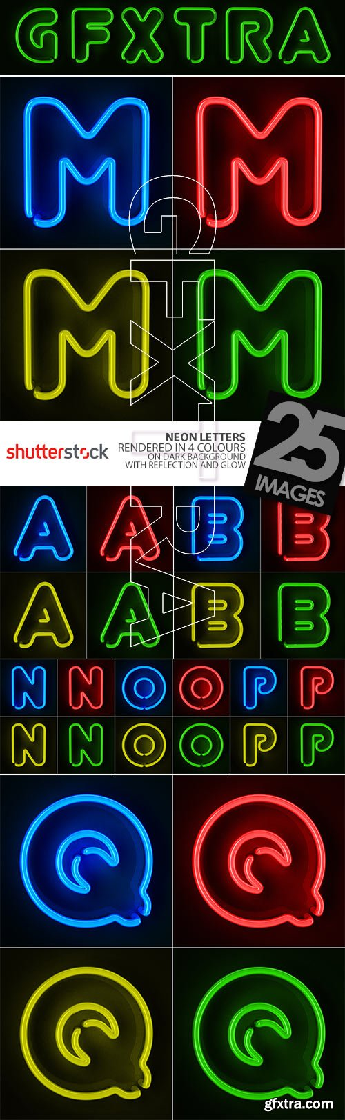 Neon Letters Rendered in 4 Colours on Dark Background 26xJPGs