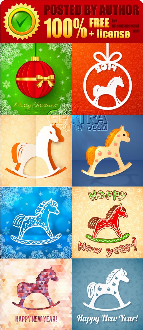 Legal release - Paper Christmas cards with horses vector