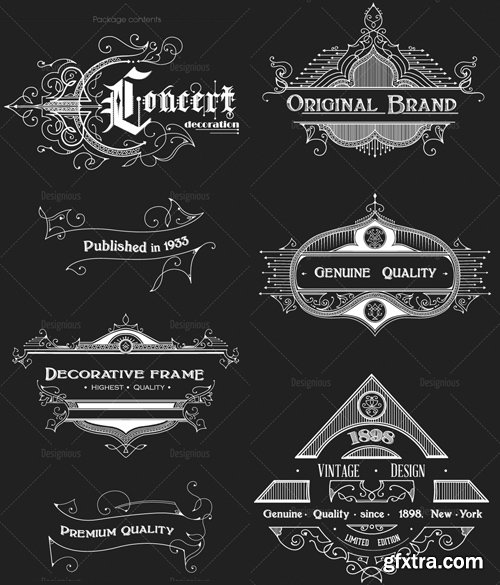 Vector Vintage Ornaments and Brushes Set 1