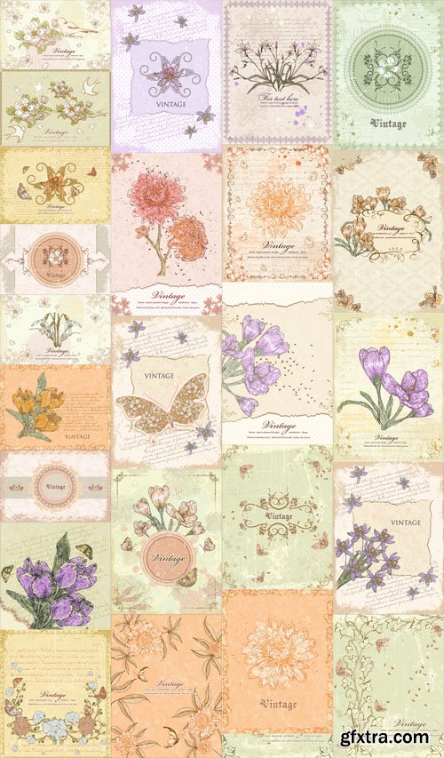 25 Vector Vintage Floral Illustrations Set 2