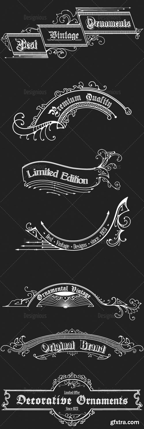 Vector Vintage Ornaments and Brushes Set 7