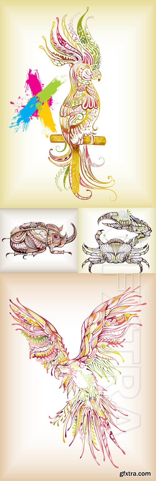 Decorative crab, beetle and parrot