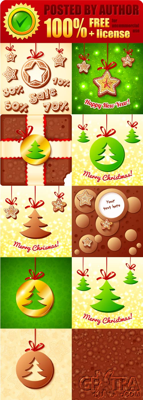 Legal release - Sweet Christmas cards and elements vector