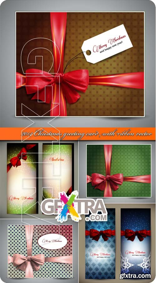2014 Christmas greeting card with ribbon vector