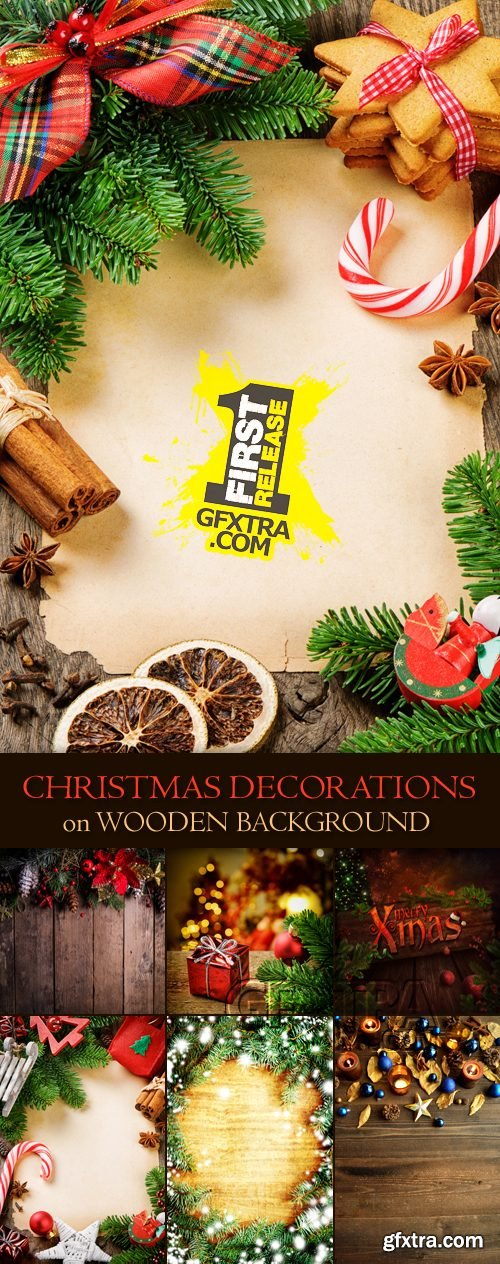 Stock Photo - Christmas, New Year Decorations on Wooden Background