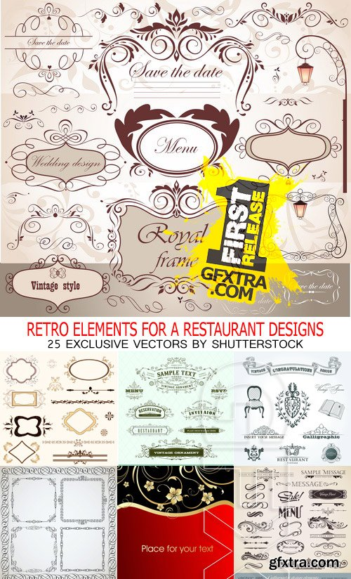 Amazing SS - Retro elements for a restaurant designs, 25xEPS