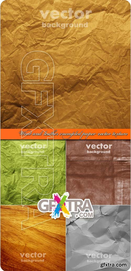 Wood and leather crumpled paper vector texture