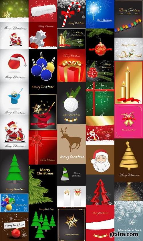 40 Christmas Backgrounds Vector Set