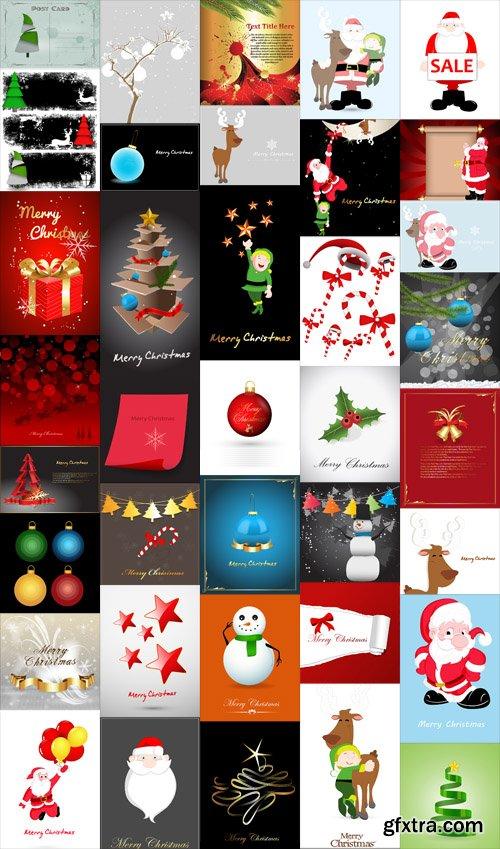Christmas Backgrounds and Santa Vector Set
