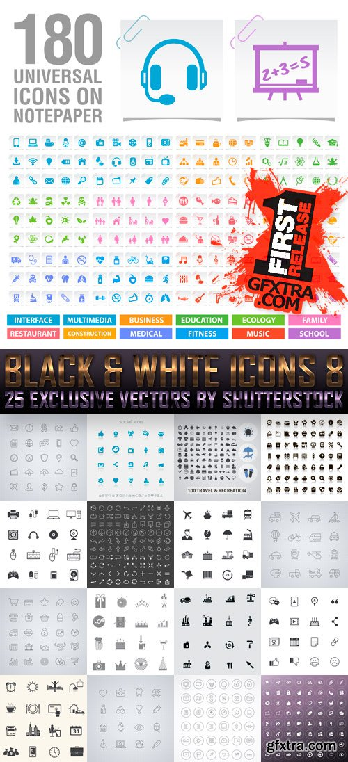 Amazing SS - Black & White Icons 8, 25xEPS