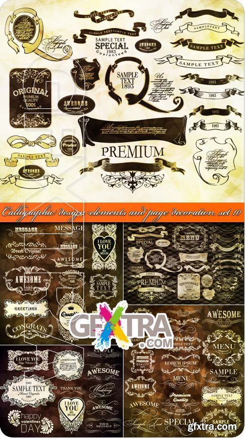 Calligraphic design elements and page decoration set 10
