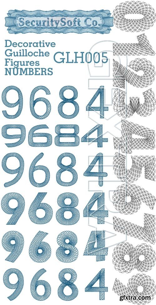 SecuritySoft GLH005 Decorative Guilloche Figures: NUMBERS