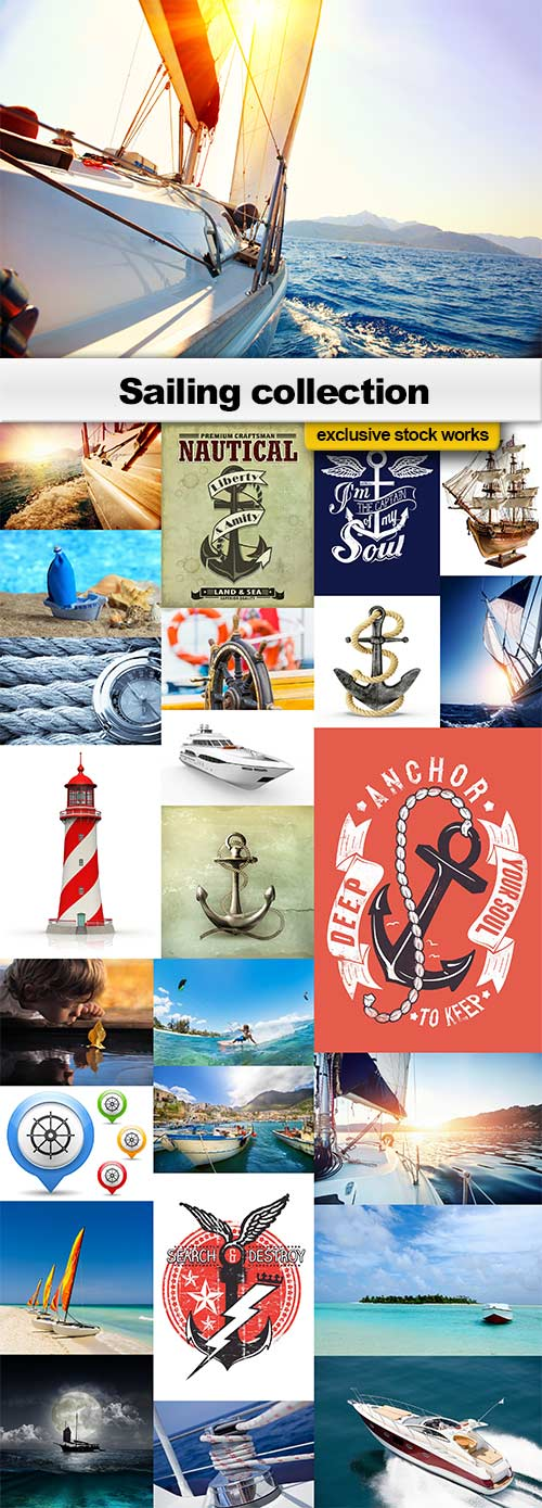 Sailing collection - 18 JPEGs + 7 EPS