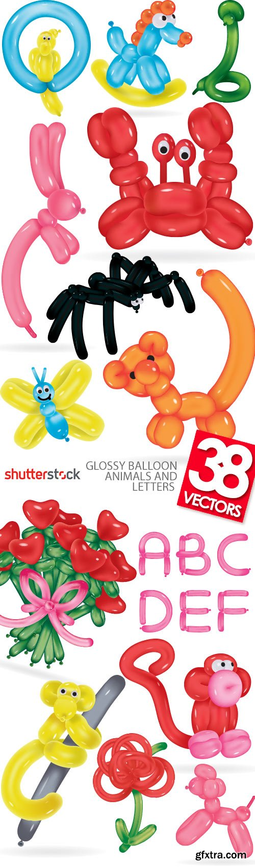 Glossy Balloon Animals and Letters 38xEPS