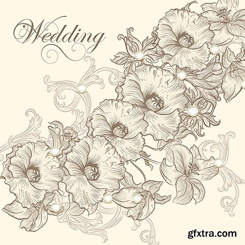 Wedding invitation cards with flowers and butterflies, 2 - Vector