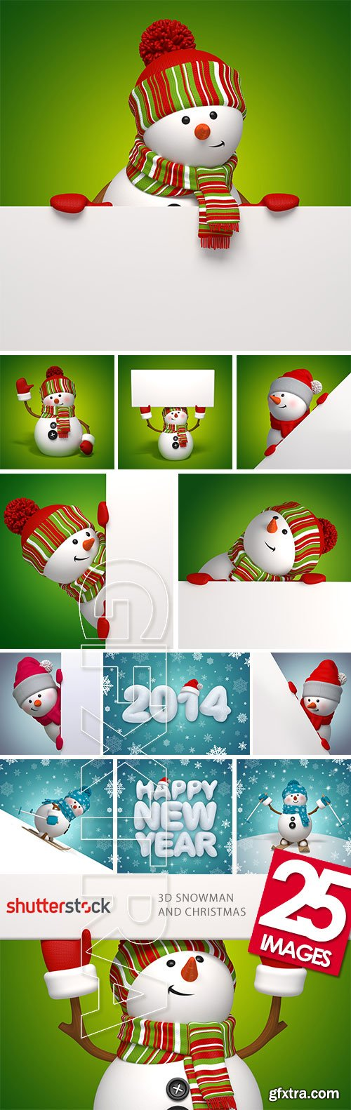 3D Snowman and Christmas 25xJPGs