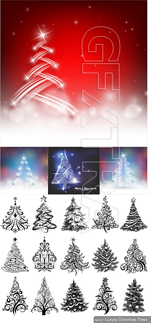 Christmas trees vector set