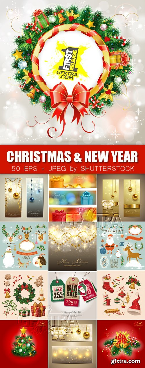 Stock Vector - Christmas & New Year 2014