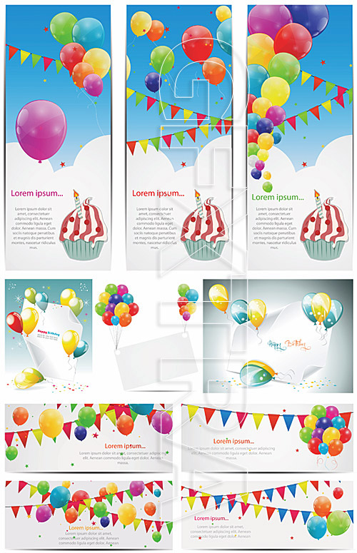 Birthday banner with balloons 2