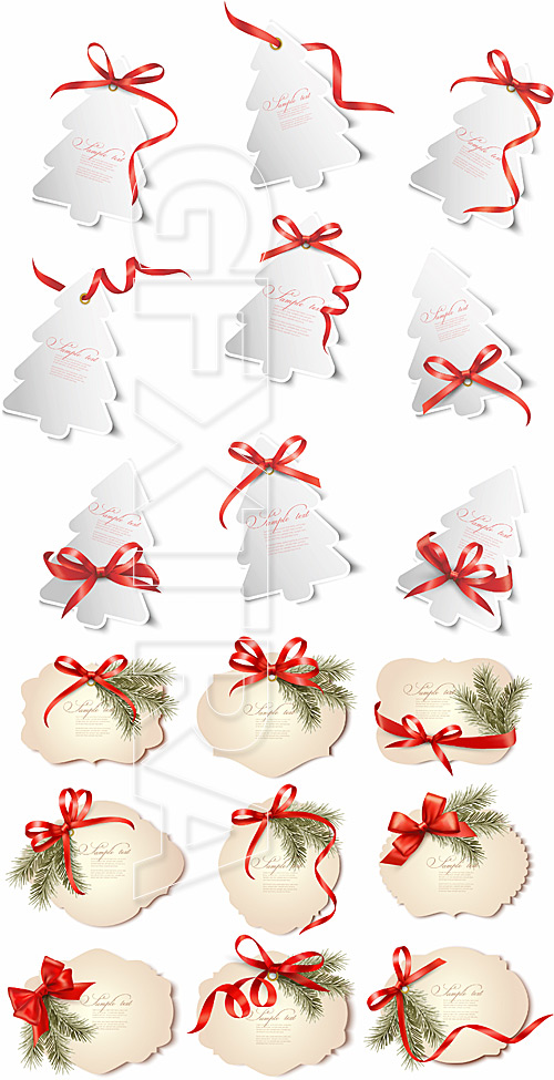Christmas gift cards with red bows